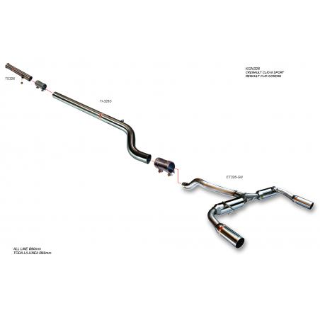 Silencieux inox RC Racing Peugeot 206 2.0l 16v